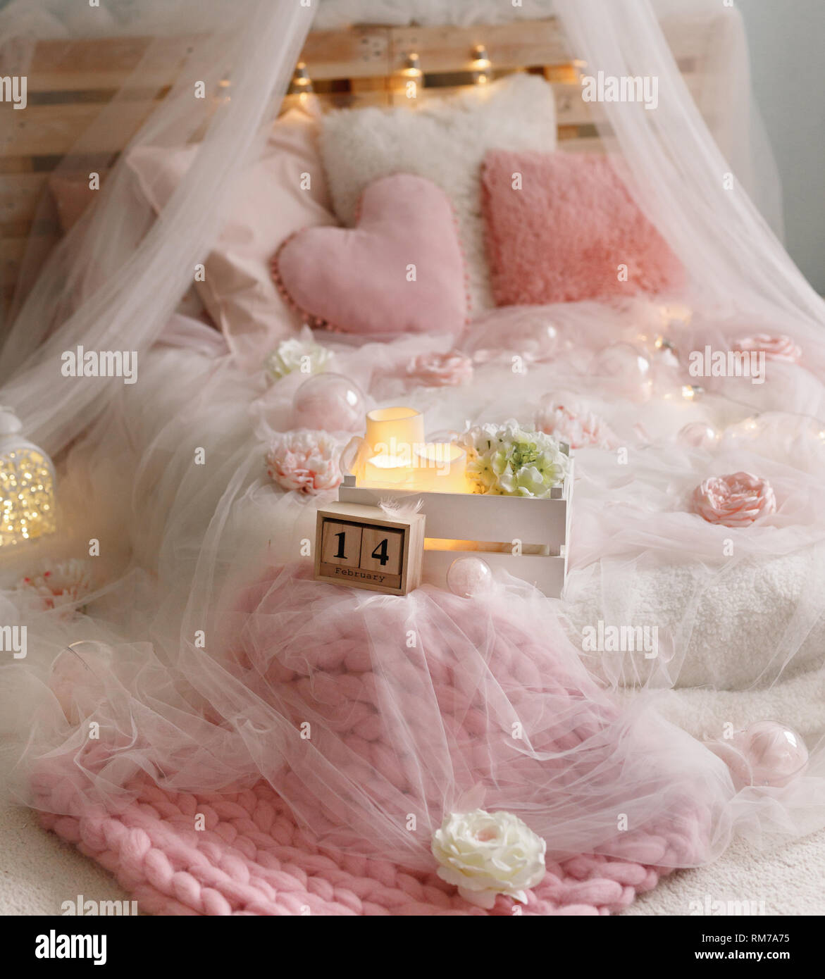 rose bed with flowers on 14 th of february - Stock Image