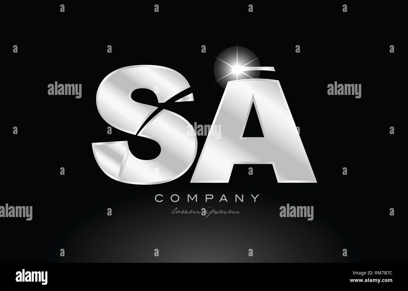 silver letter sa s a metal combination alphabet logo icon design with grey color on black background suitable for a company or business - Stock Vector