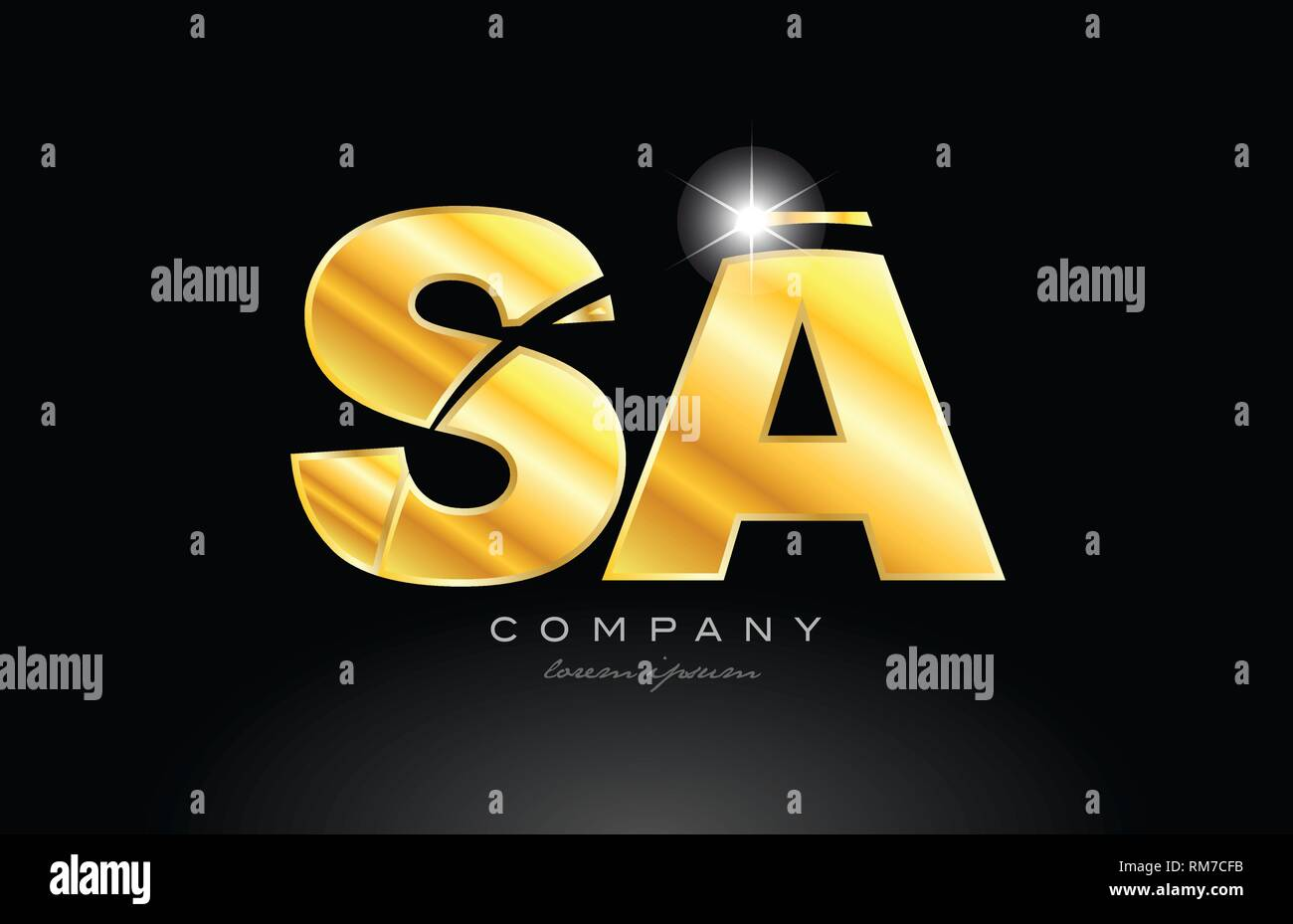 combination letter sa s a gold golden alphabet logo icon design with metal look on black background suitable for a company or business - Stock Vector