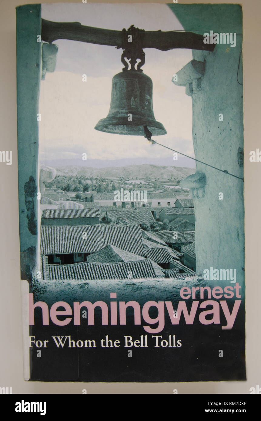 Still life of Ernest Hemingway's For whom the bells tolls cover of english edition - Stock Image