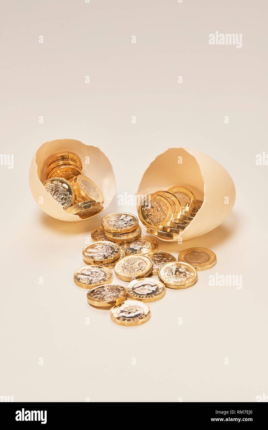 Nest Egg with Shinny Pound Coins - Stock Image