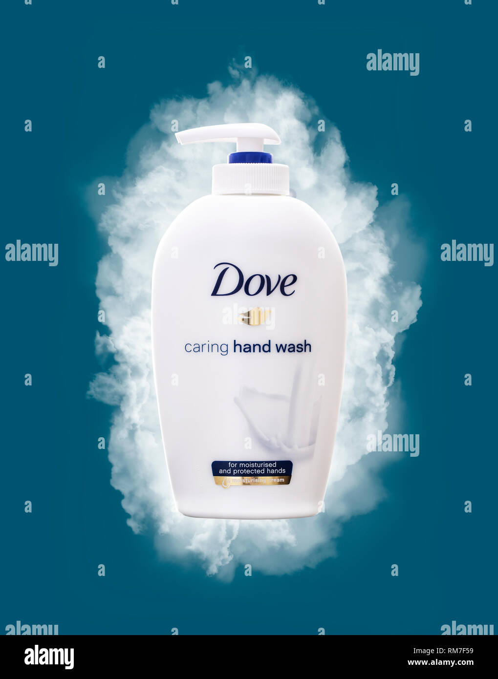 SWINDON, UK - FEBUARY 12, 2019: Dove caring hand wash for moisturised and protected hands - Stock Image