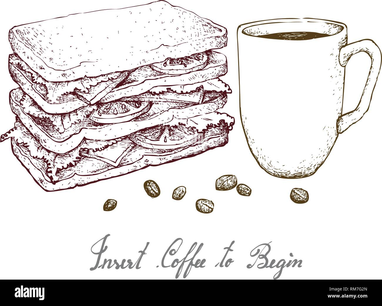 Insert Coffee to Begin, Illustration Hand Drawn Sketch of A Cup of Coffee with Grilled Sandwich Isolated on White Background. Stock Vector