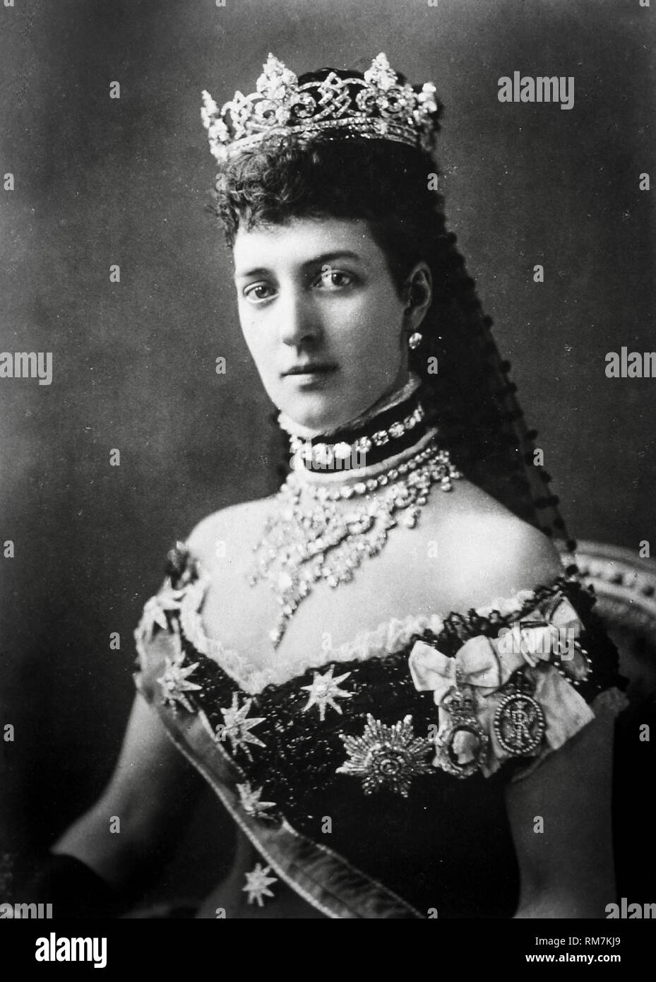 Alexandra of Denmark, Queen Consort to Edward VII of the United Kingdom, portrait photograph by Alexander Bassano 1881 - Stock Image