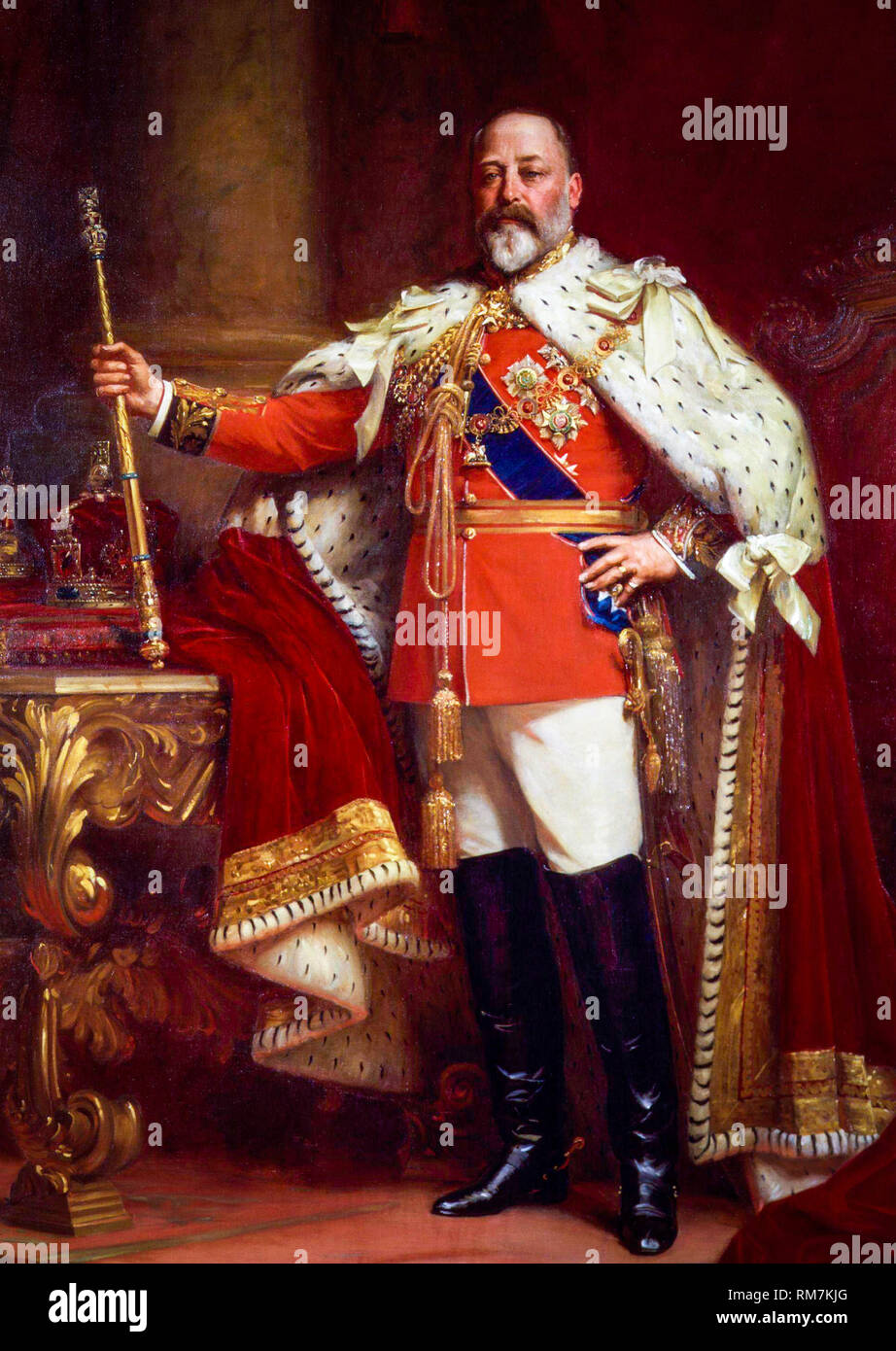 King Edward VII of the United Kingdom in Coronation Robes, portrait by Sir Luke Fildes, painting c.1901 - Stock Image