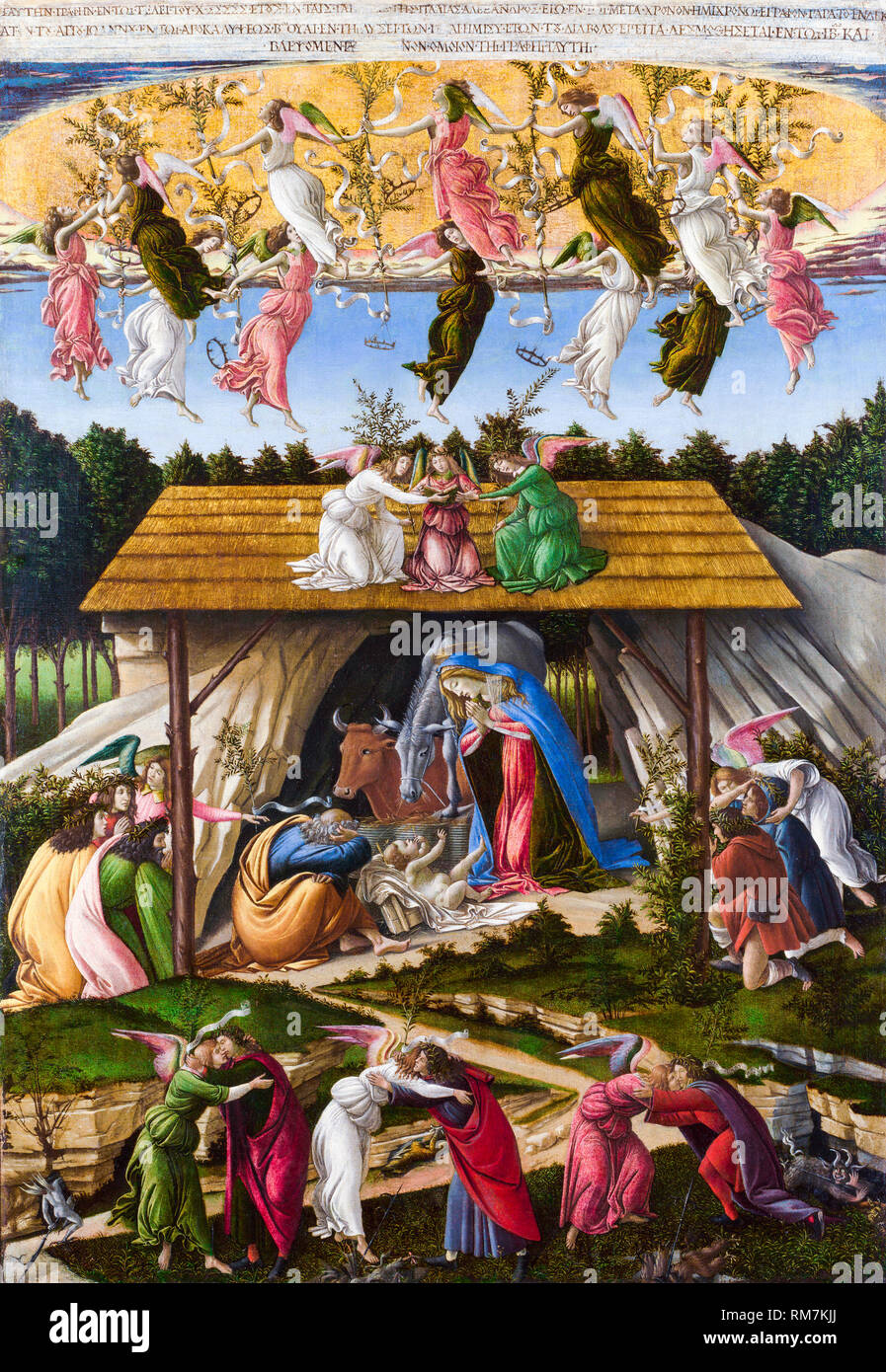 The Mystical Nativity, painting by Sandro Botticelli, c.1500 - Stock Image