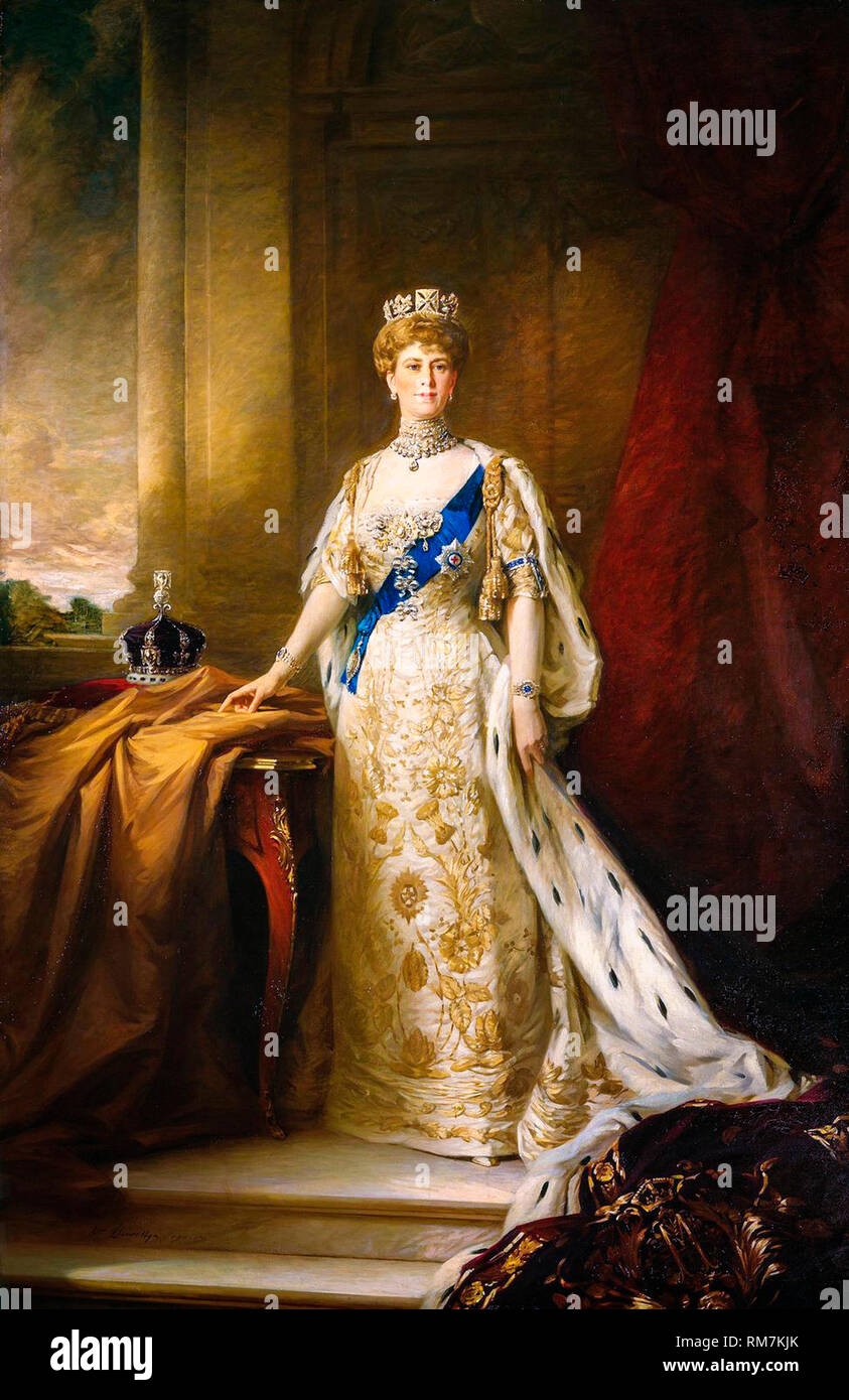 Queen Mary of Teck of the United Kingdom in Coronation Robes, portrait by William Llewellyn, painting c.1911 - Stock Image