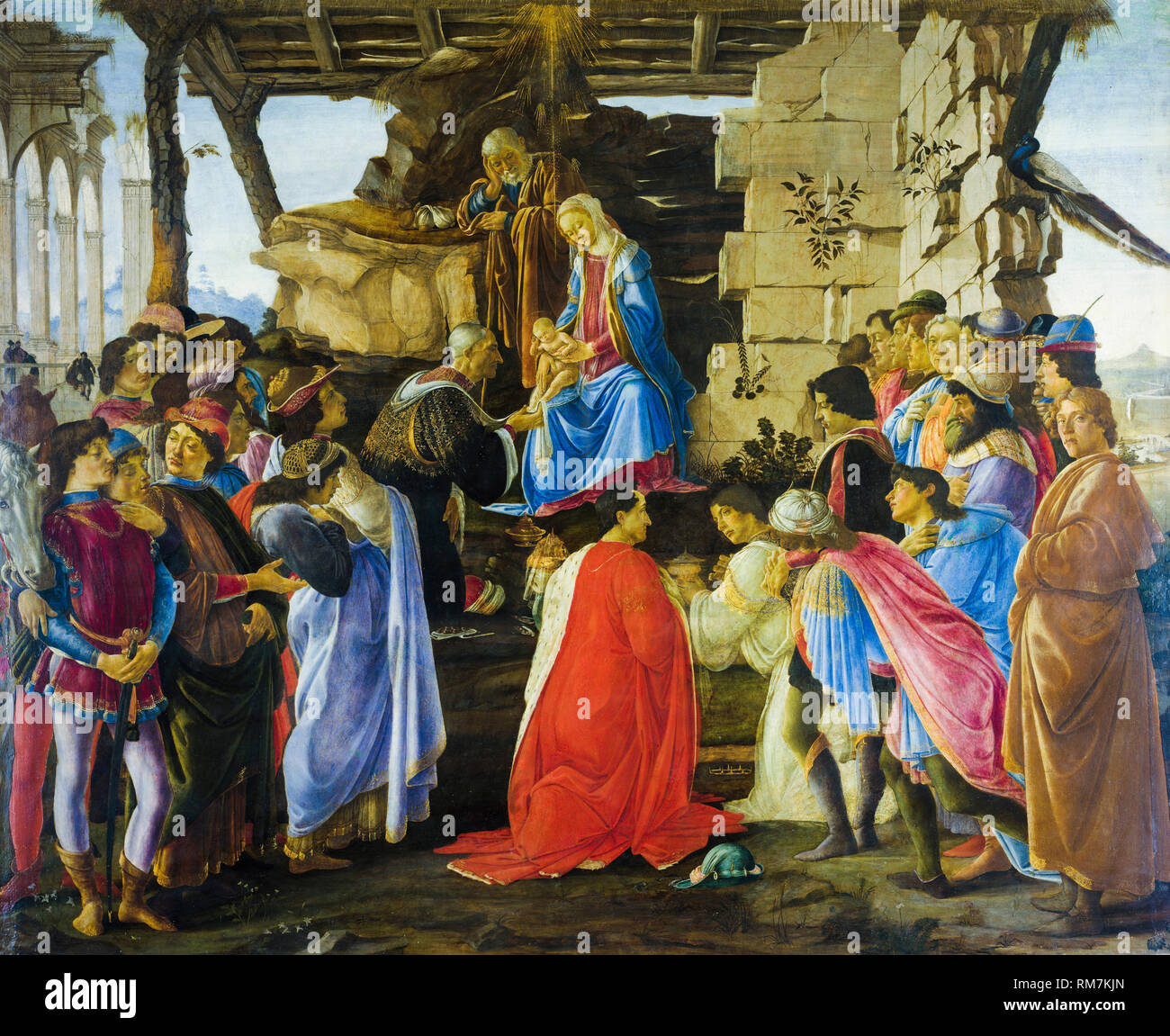Adoration of the Magi, painting by Sandro Botticelli, c.1475 - Stock Image