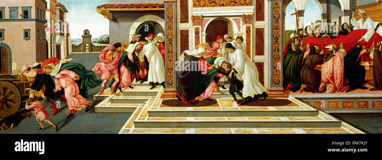 Last Miracle and the Death of St. Zenobius, painting by Sandro Botticelli, c.1500 - Stock Image