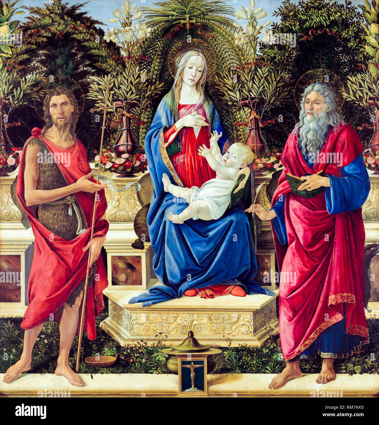 Madonna with Saints, Bardi Altarpiece, painting by Sandro Botticelli, 1485 - Stock Image