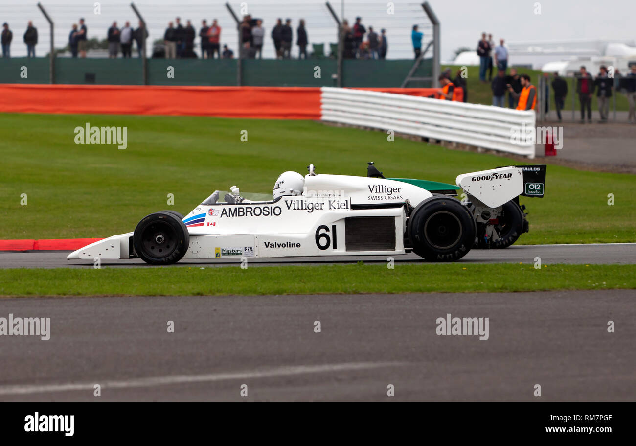 Jason Wright driving a white, 1978, Shadow DN8 during the FIA Masters Historic Formula One Race at the  2017 Silverstone Classic - Stock Image