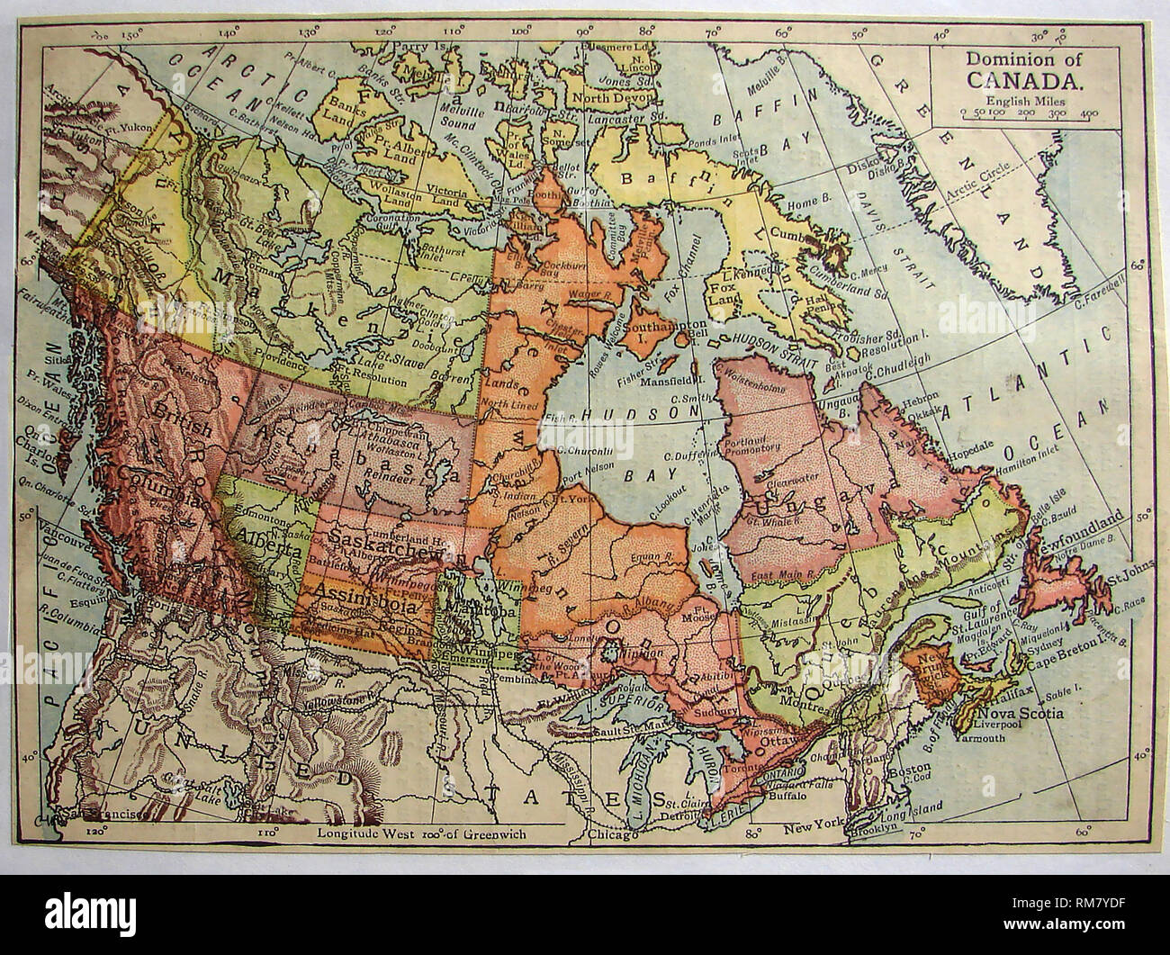 Map Of Canada Showing Alberta.1901 Coloured Map Of The Dominion Of Canada Showing Districts Of