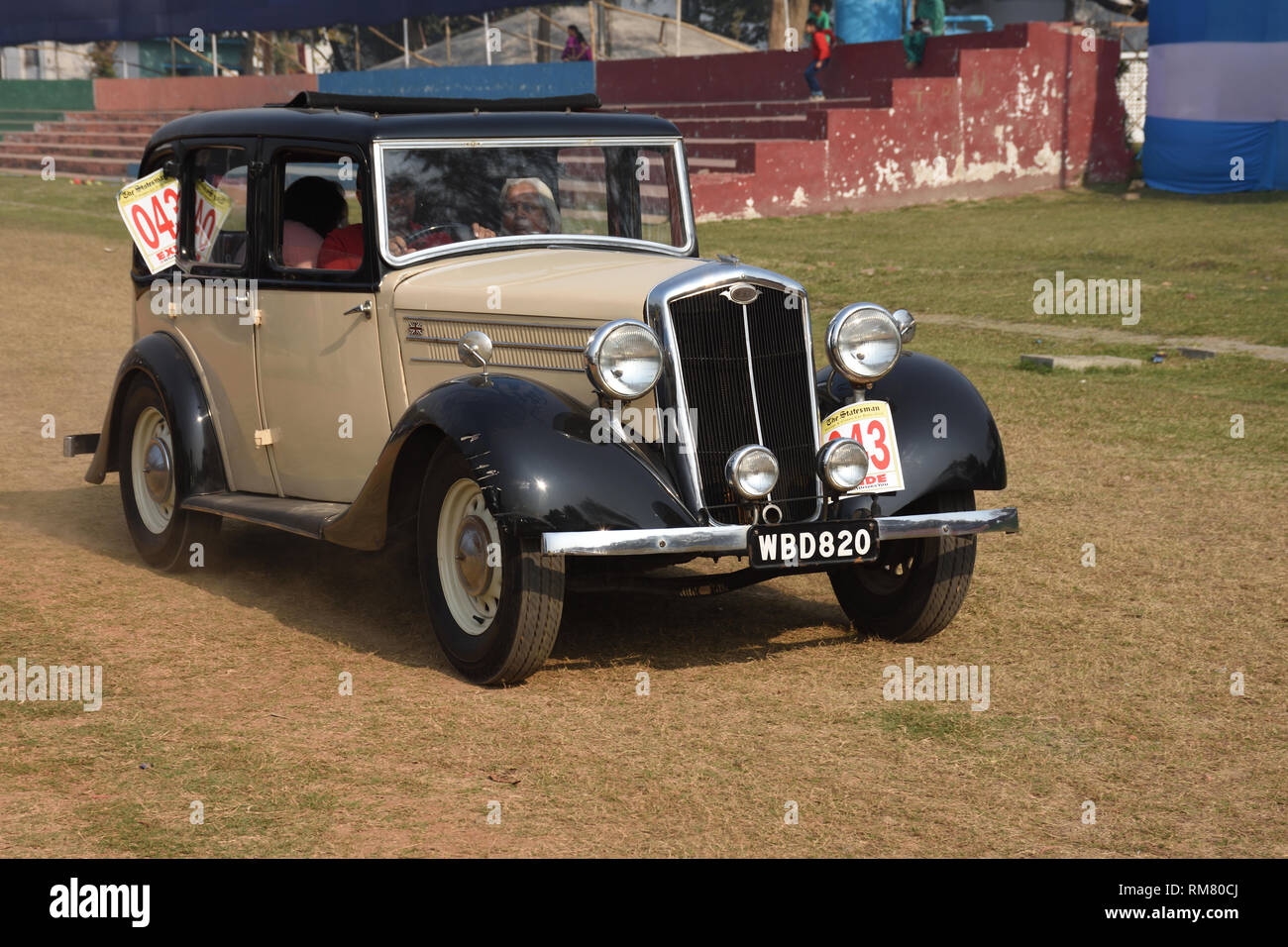 1936 Wolseley NF car with 14 hp and 6 cylinder engine, WBD 820 India. - Stock Image