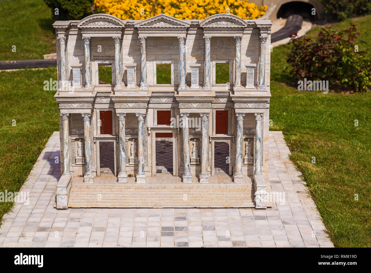 Turkey Istanbul April 18, 2018: Miniaturk park in istanbul, the largest miniature park in the world. The park contains 105 buildings, each replicated  - Stock Image