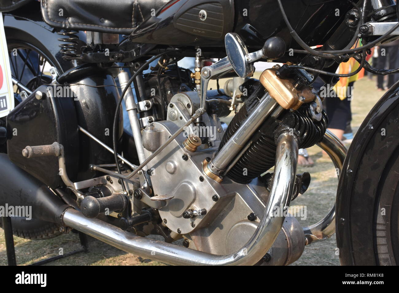 1923 Panther Sloper motorcycle engine with 6 hp, 1 cylinder 600 cc engine volume. - Stock Image