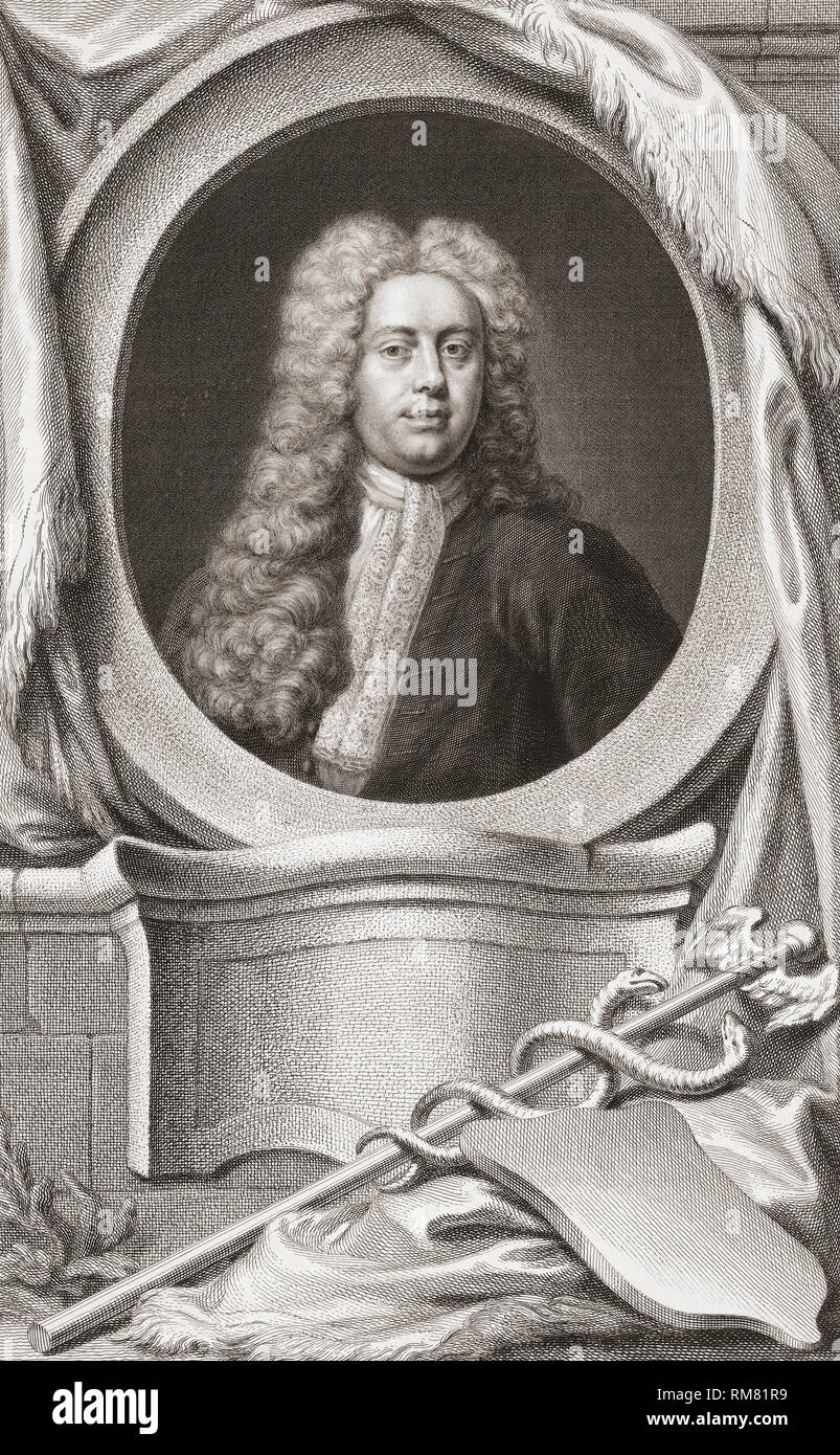 Sir William Wyndham, c. 1688 – 1740, English Tory statesman.  Secretary at War.  Chancellor of the Exchequer.  From the 1813 edition of The Heads of Illustrious Persons of Great Britain, Engraved by Mr. Houbraken and Mr. Vertue With Their Lives and Characters. - Stock Image
