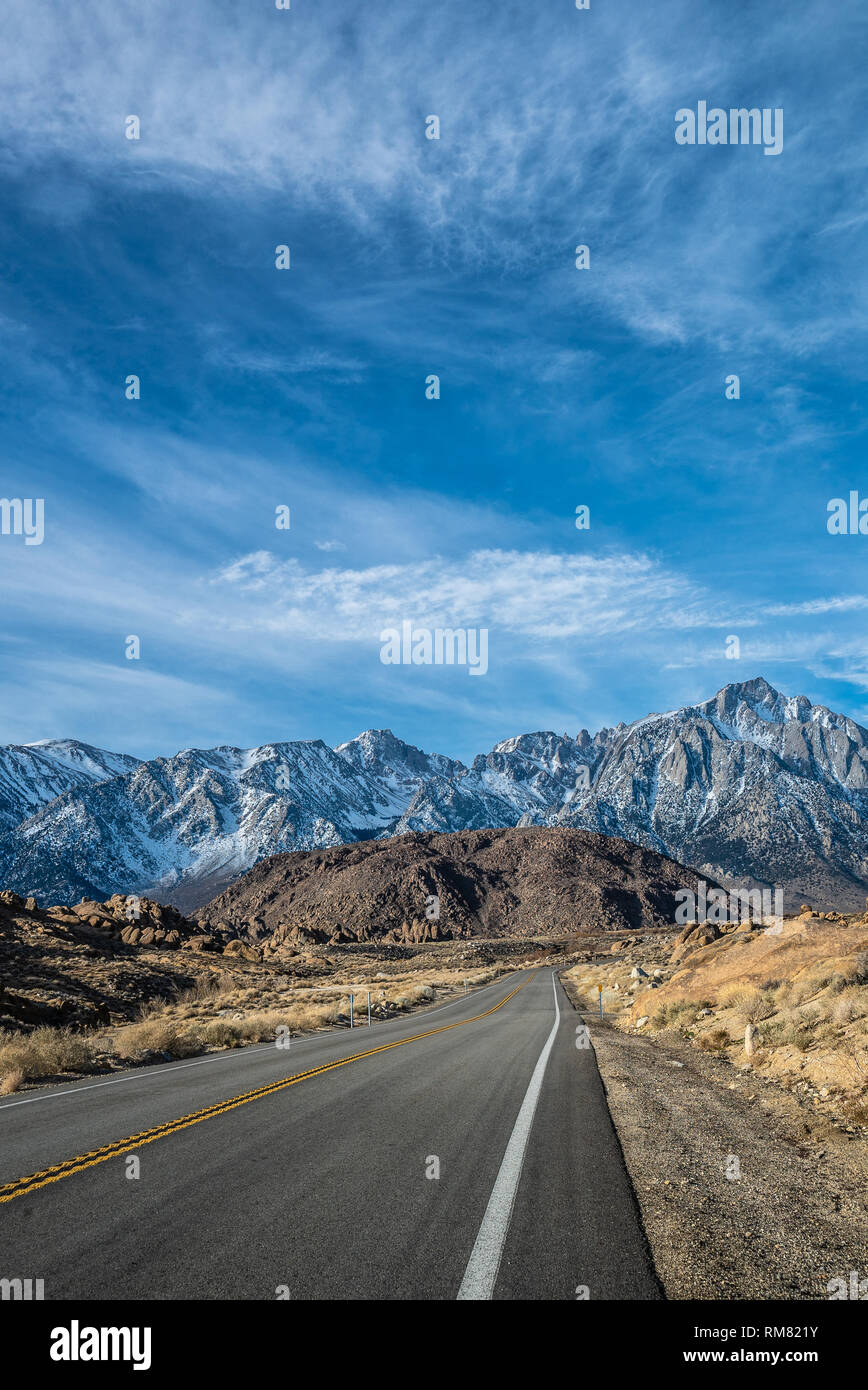 Lone Pine, California morning view of Mount Whitney from Whitney Portal road in Lone pine Stock Photo