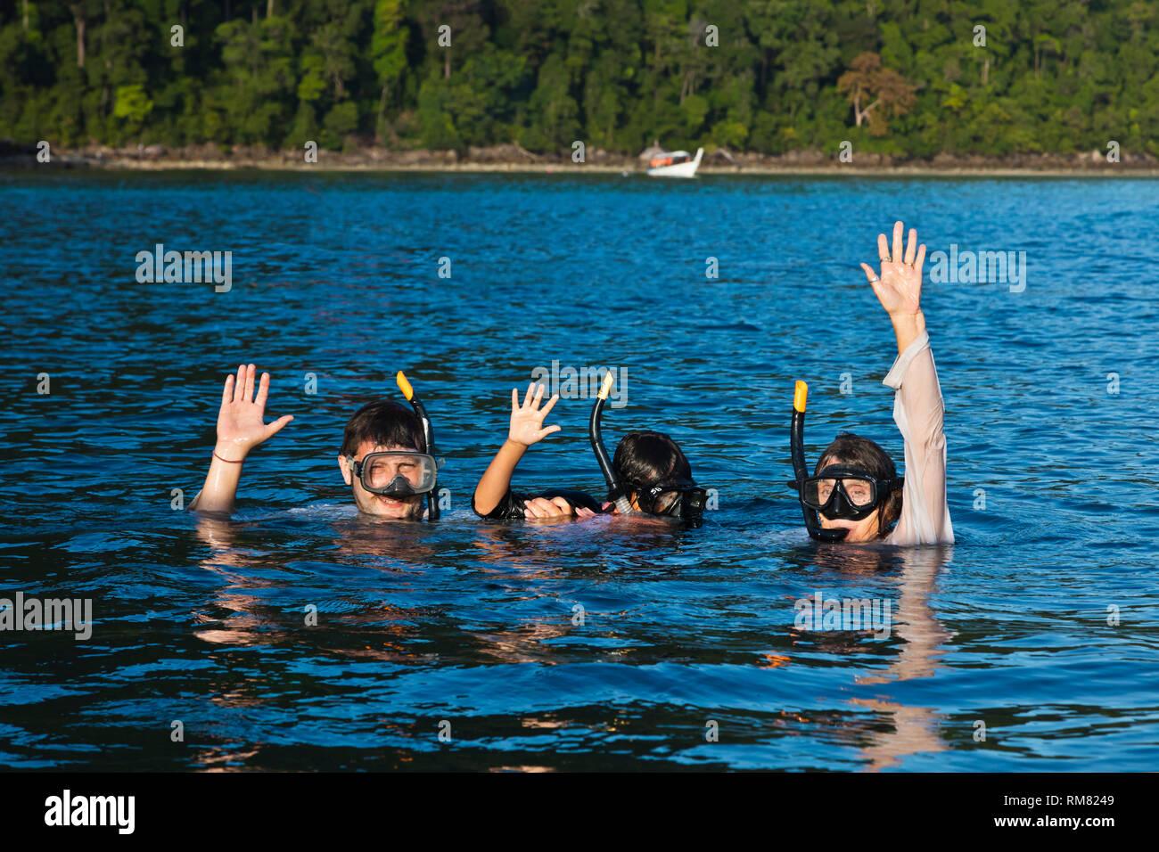 Snorkeling along the coast of KO SURIN THAI ISLAND in MU KO SURIN NATIONAL PARK - THAILAND - Stock Image