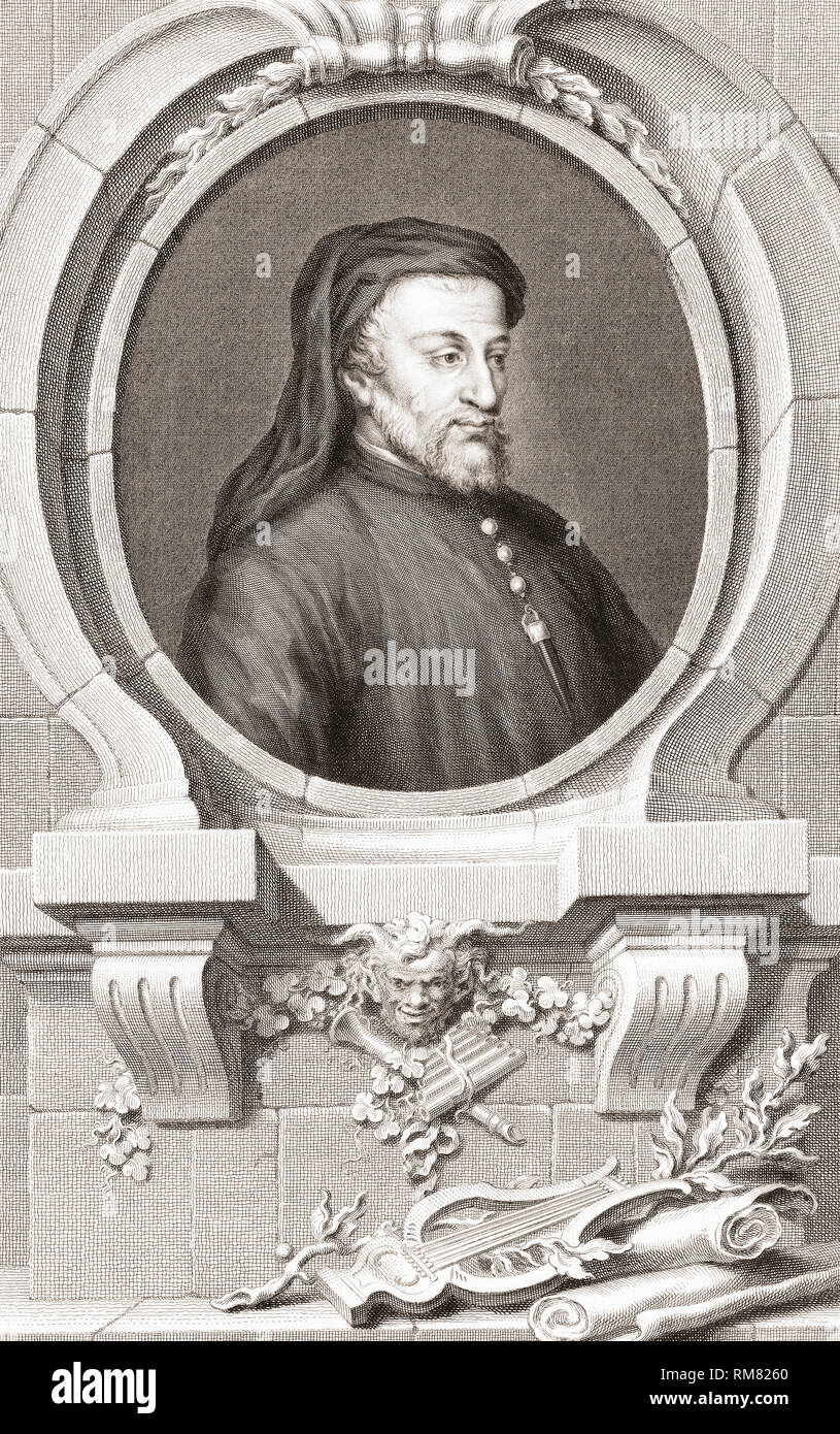 Geoffrey Chaucer, c.1343 – 1400.  English poet and author of The Canterbury Tales. From the 1813 edition of The Heads of Illustrious Persons of Great Britain, Engraved by Mr. Houbraken and Mr. Vertue With Their Lives and Characters. - Stock Image