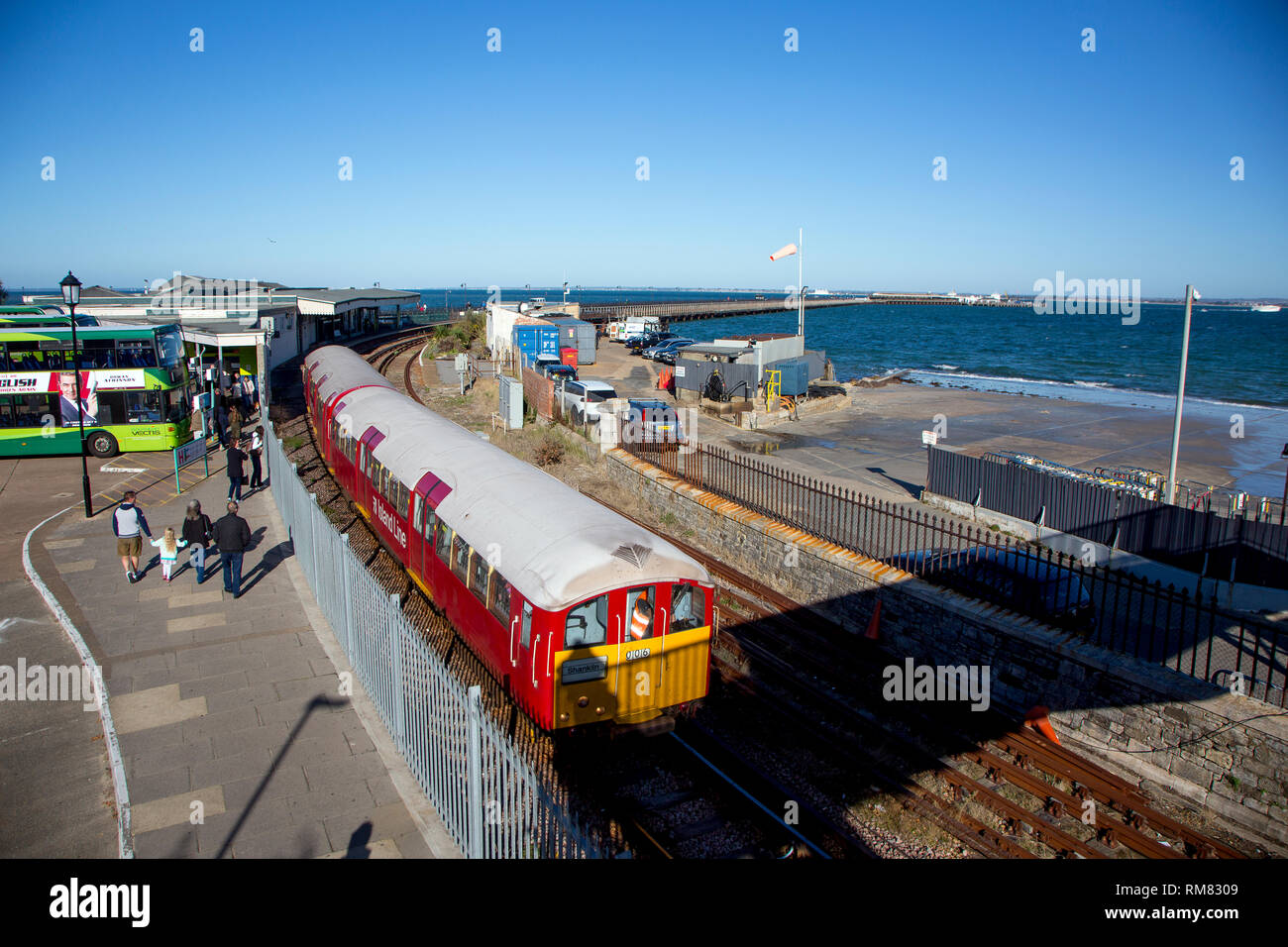 Link to Isle of Wight Steam Railway at Smallbrook Junction, Bus, Train, Station, Ryde, Isle of Wight, England, UK, - Stock Image