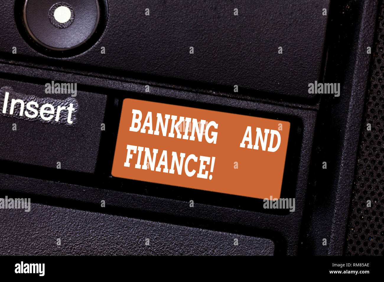 Writing note showing Banking And Finance. Business photo showcasing institutions that provide variety of financial services Keyboard key Intention to  - Stock Image