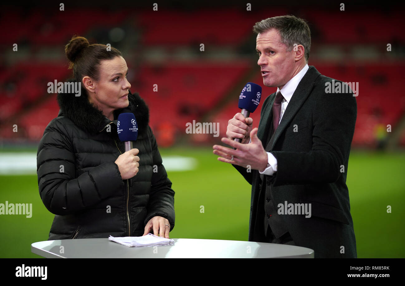 BT Sport pundit Jamie Carragher (right) during the UEFA