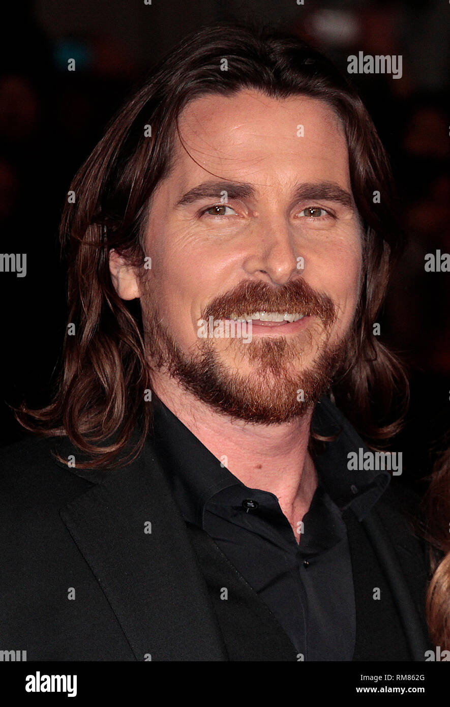 Dec 3, 2014 - Exodus: Gods And Kings World Premiere - VIP Red Carpet Arrivals at Odeon,  Leicester Square, London Pictured: Christian Bale - Stock Image