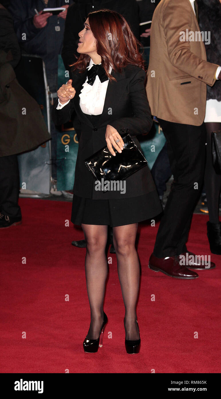 Dec 3, 2014 - Exodus: Gods And Kings World Premiere - VIP Red Carpet Arrivals at Odeon,  Leicester Square, London Pictured: Salma Hayek - Stock Image