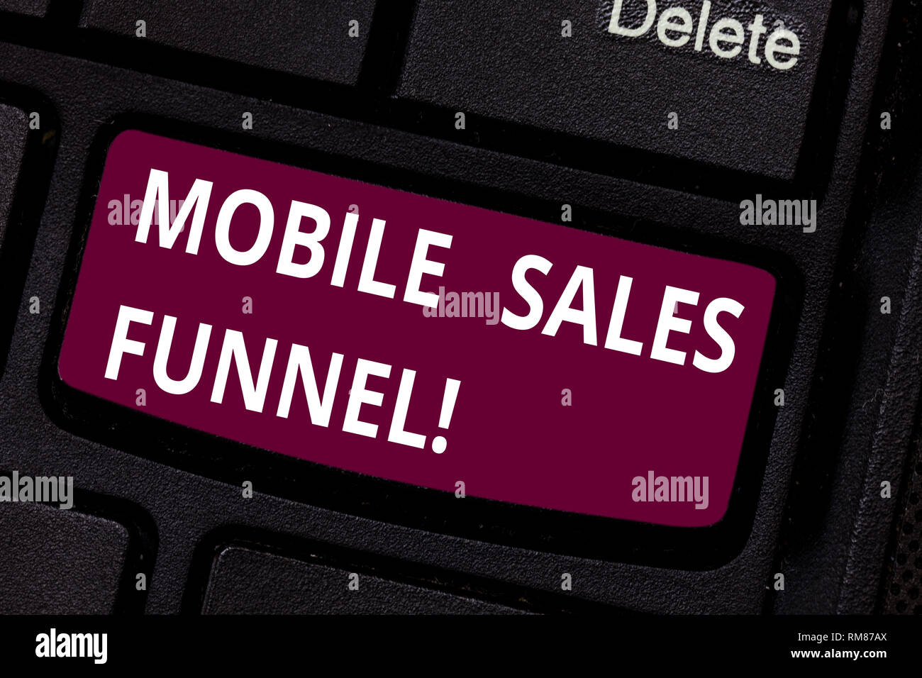 Writing note showing Mobile Sales Funnel. Business photo showcasing visual metaphor for path taken by potential customer Keyboard key Intention to cre - Stock Image