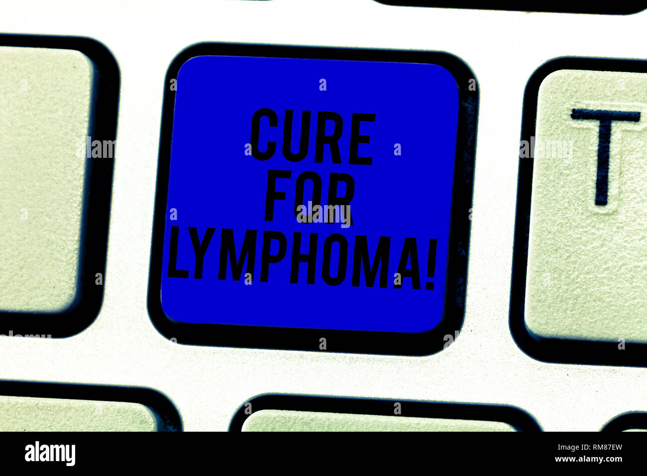 Word writing text Cure For Lymphoma. Business concept for restore bone marrow by dose chemotherapy radiation therapy Keyboard key Intention to create  - Stock Image