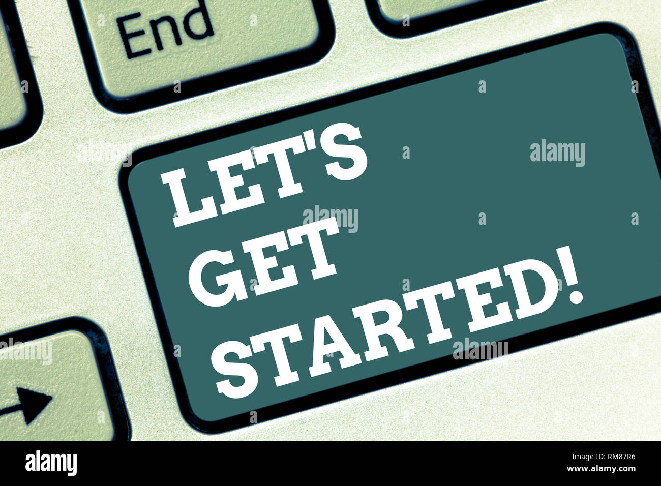 Writing note showing Let S Get Started  Business photo showcasing