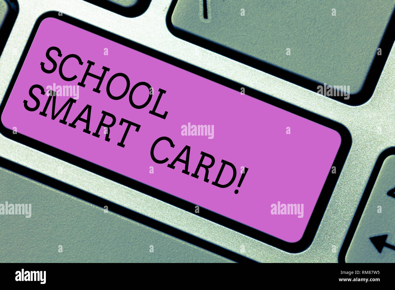 Conceptual hand writing showing School Smart Card. Business photo text integrated circuit card to give access children enter Keyboard key Intention to - Stock Image