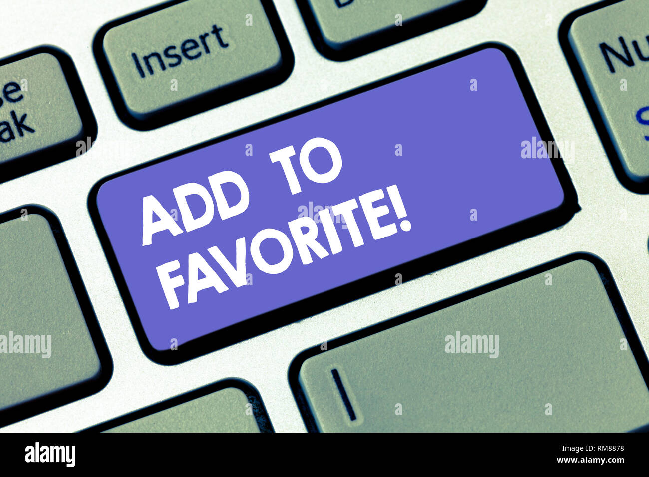 Writing note showing Add To Favorite. Business photo showcasing Like a page social network community stay always connected Keyboard key Intention to c - Stock Image