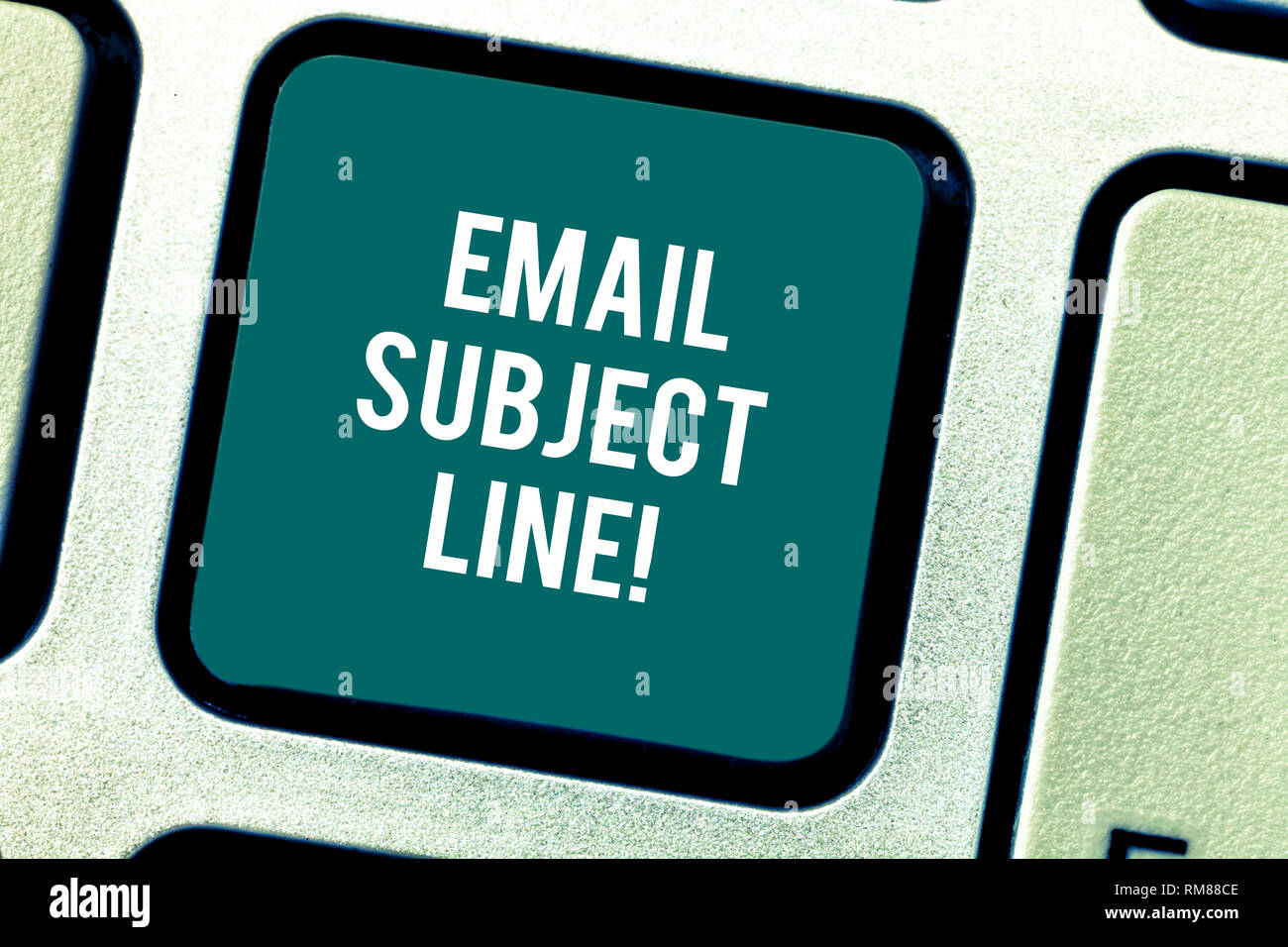 Word writing text Email Subject Line. Business concept for introduction that identifies email or message intent Keyboard key Intention to create compu - Stock Image