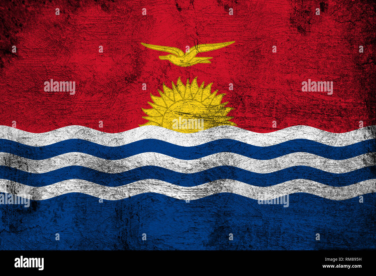 Kiribati grunge and dirty flag illustration. Perfect for background or texture purposes. - Stock Image