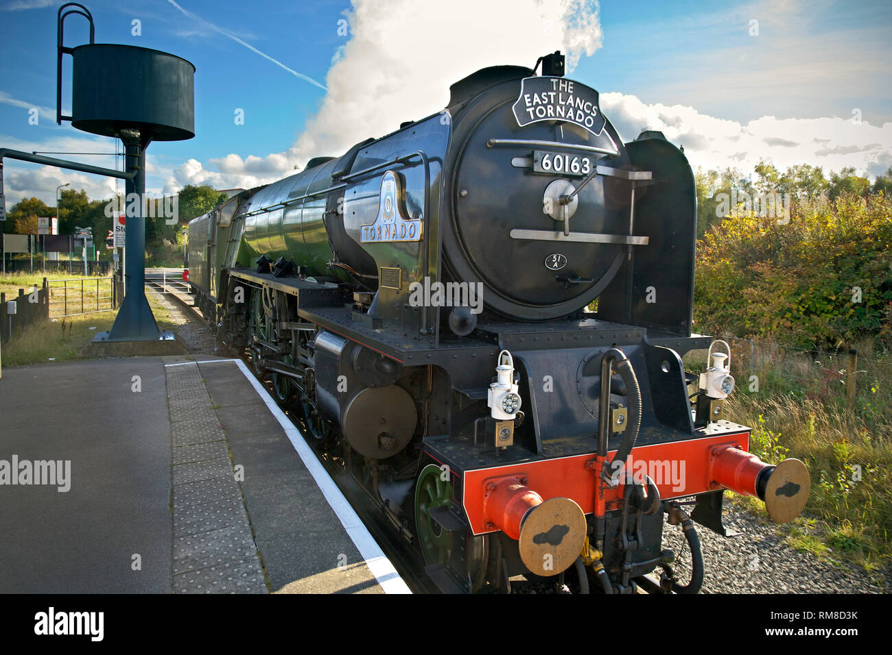 THe steam engine Tornado at Heywood station on the East Lancashire Railway. ELR - Stock Image