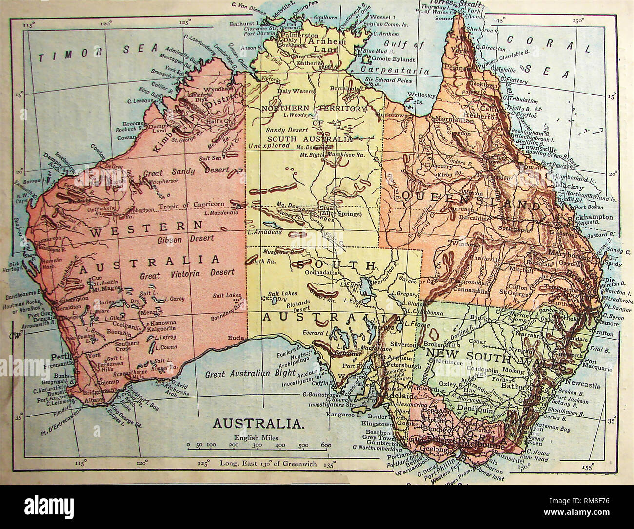 Map Of Australia 1901.Coloured Map Of Australia 1901 Showing Unexplored Regions Stock