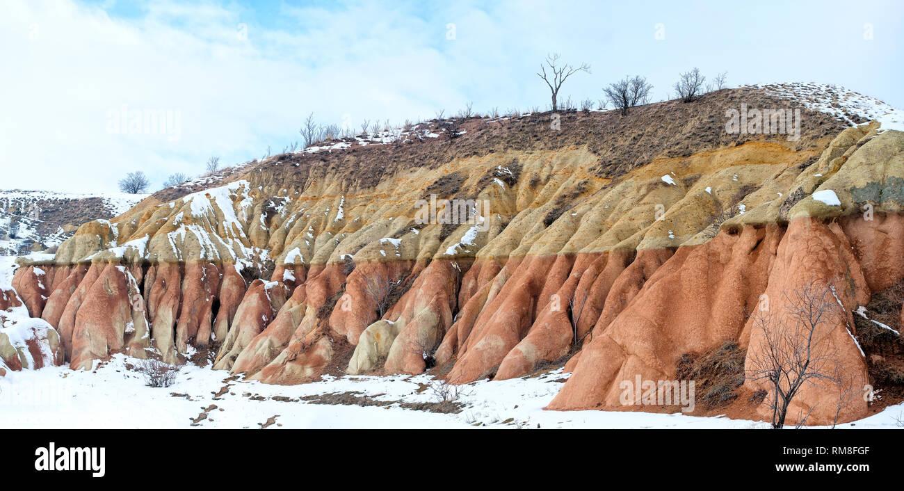 extraordinary rocks formations rock hills of Dervent valley, Cappadocia, Nevsehir, Turkey. - Stock Image