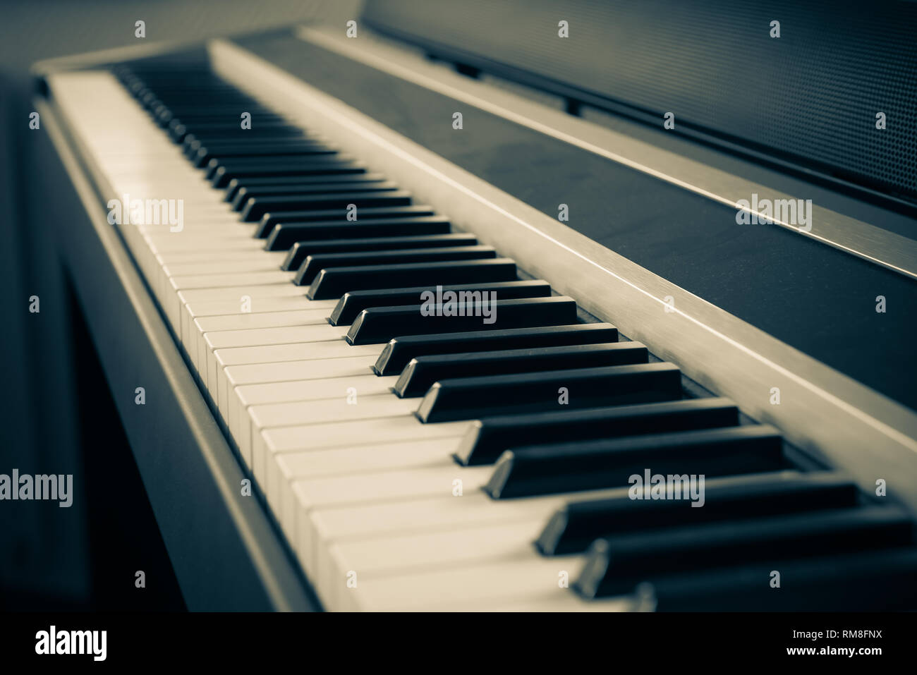 Piano keys closeup for electronic music production - Stock Image