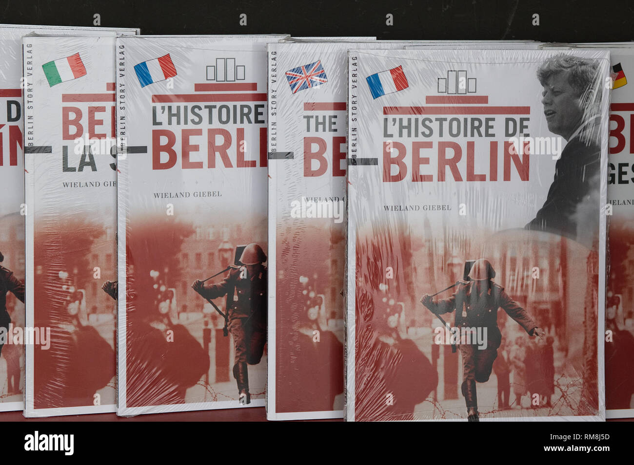 The History of Berlin in international language - Stock Image