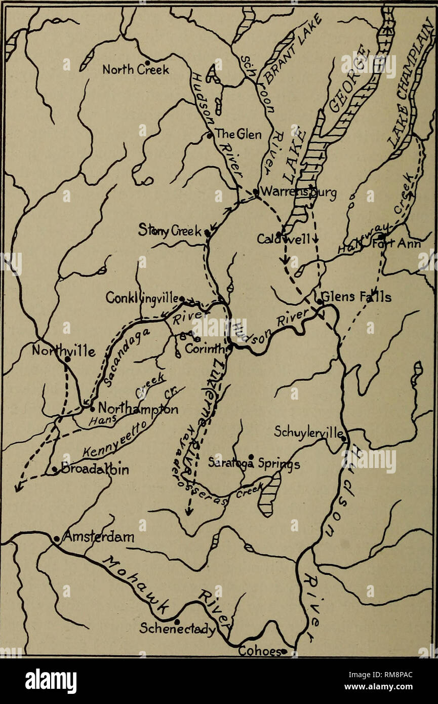 . Annual report. New York State Museum; Science; Science. no NEW YORK STATE MUSEUM Adirondacks. It is certain that these valleys contained important preglacial streams which flowed southward out of the mountains. Now, however, the Sacandaga river enters the north end of the. SCALE MILES PREGLACIAL STREAMS — Fig. 2>7 Sketch map of the southeastern Adirondack region, show- ing the relation of the preglacial drainage to that of the present. Preglacial courses shown only where essentially different from present streams. After W. J. Miller, Bui. Geol. Soc. Am., vol. 22. Please note that these im - Stock Image