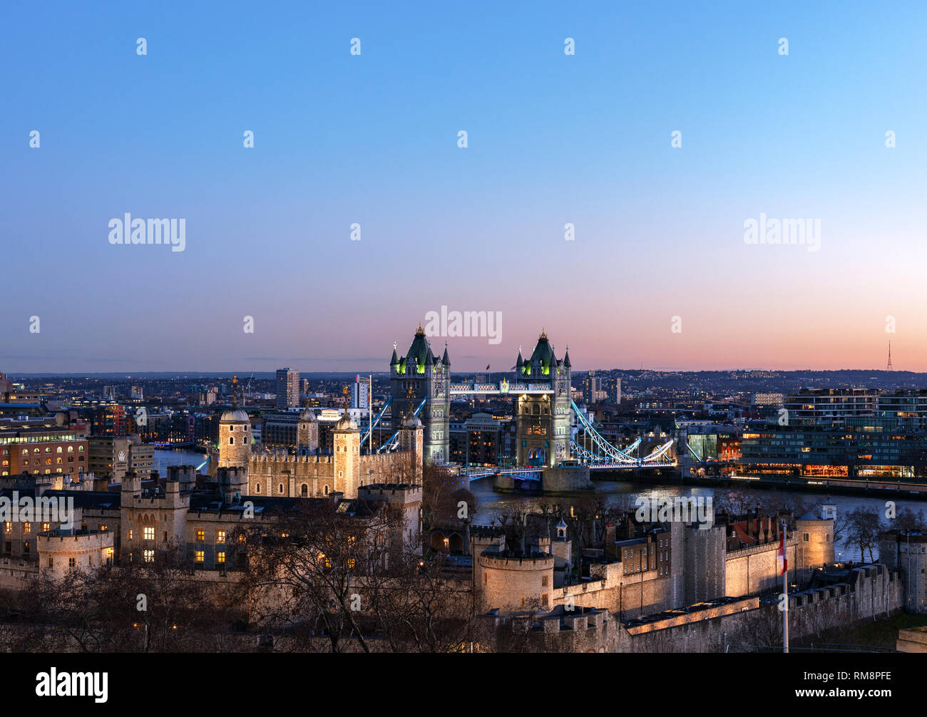Elevated View of the tower of London with tower bridge in the Background Stock Photo