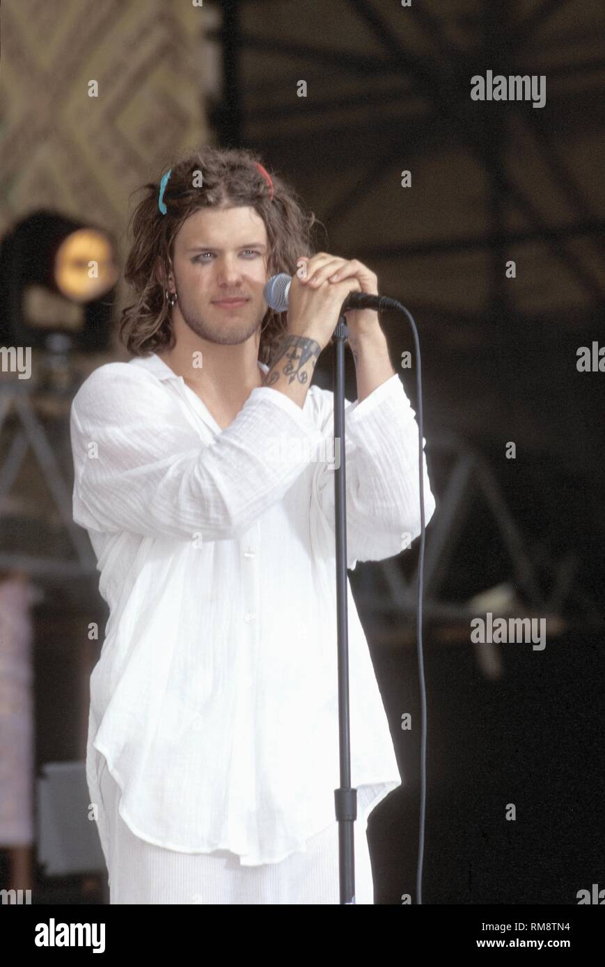 Blind Melon singer Shannon Hoon is shown performing on stage