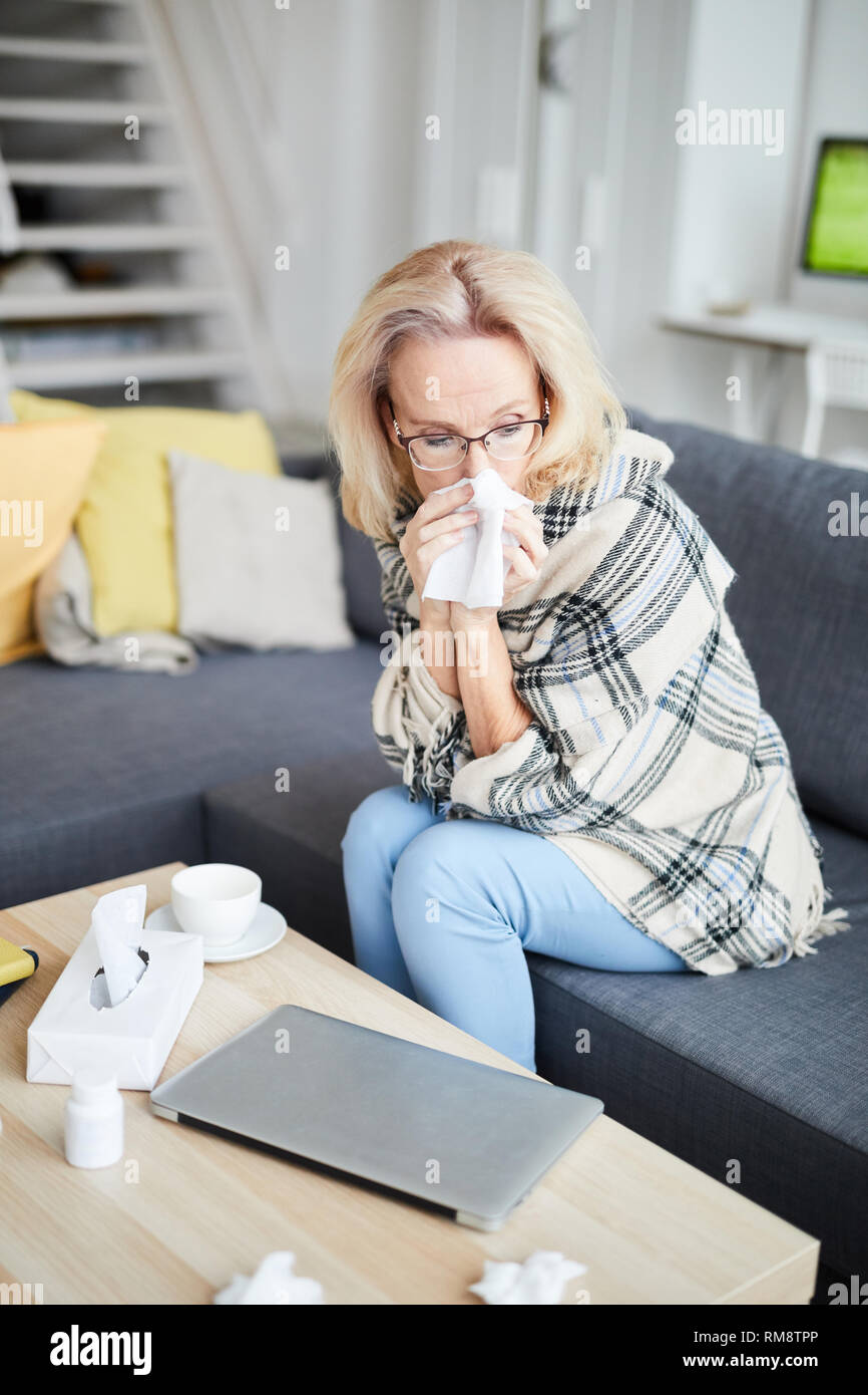 Sick Adult Woman at Home - Stock Image