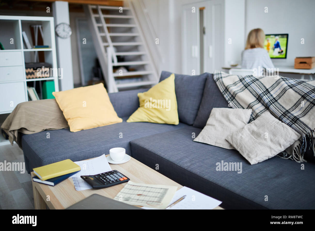Couch in Living Room - Stock Image