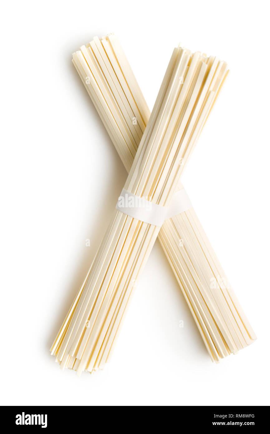 Raw udon noodles isolated on white background. Stock Photo