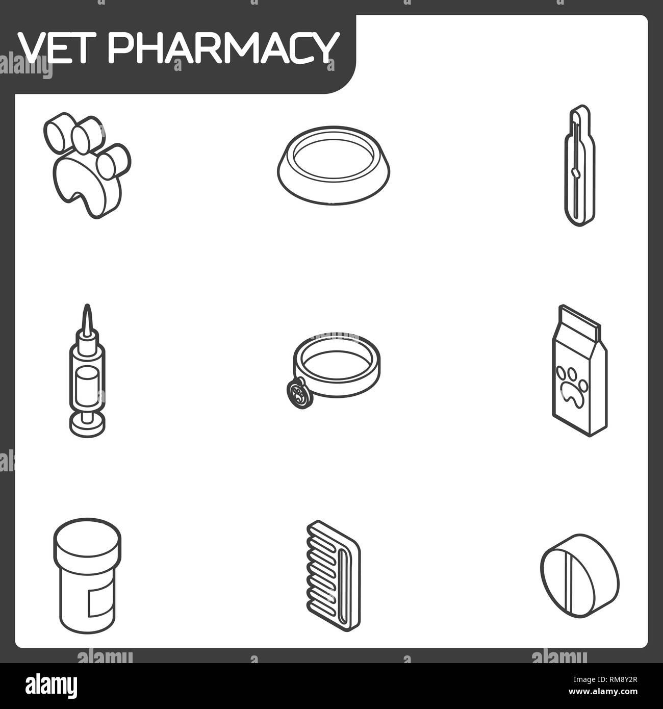 Vet pharmacy outline isometric icons. Vector illustration, EPS 10 - Stock Vector