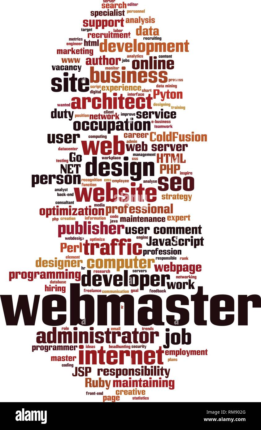 Webmaster word cloud concept. Vector illustration - Stock Image