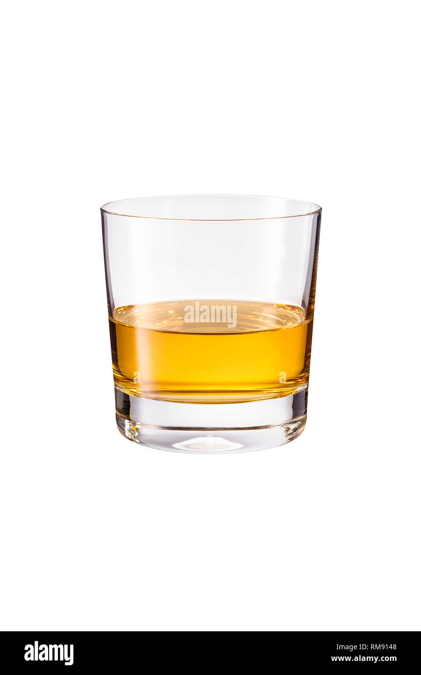 Refreshing Whiskey Neat Cocktail on White with a Clipping Path - Stock Image