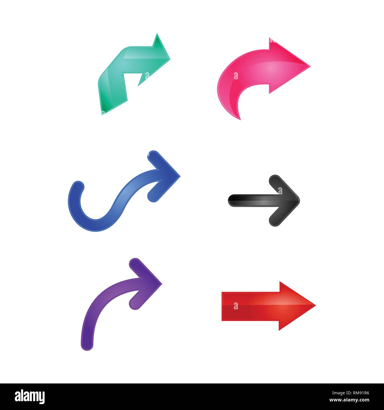 Arrows  Set of colored shiny icons  3d vector illustration